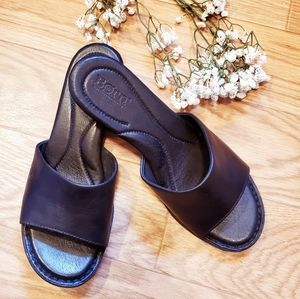 Born Leather Slip On Wedged Sandals